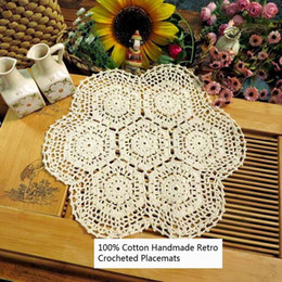 cotton table mats designs NZ - Set of 2 100% Cotton Handmade Crocheted Hollow Out Design Round Table Placemat 14'x14' Table Mat Decorative Cover Cloth for Sofa