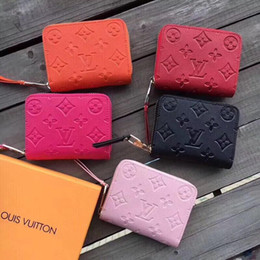 Wholesale 2019 Wallet leather Old Floral Red coin purse short wallet Polychromatic purse lady Card holder classic mini zipper pocket with box