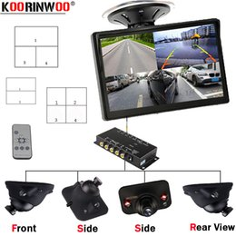 front parking camera UK - Koorinwoo Parking 360 CCD IR Lights Sensors Split 4 Cameras LCD Screen Blind Sport Switch Box Left Right Front Rear view Camera car