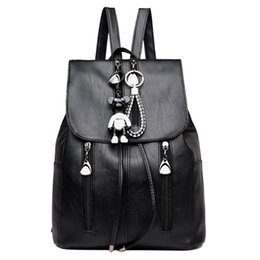 Drawstring School Bags Australia - PU Leather Women Backpacks Drawstring School Bags for Teenage Girls Shoulder Bag Travel Daypacks Female Rucksacks Outdoor Bag