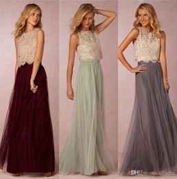 Wedding Dresses Two Piece Design Australia - 2018 New Design Two Pieces Cheap Bridesmaid Dresses A Line Scoop Neck Tulle Floor Length Wedding Party Gowns
