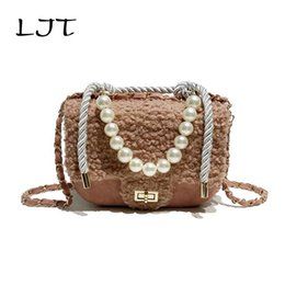 f88e55fac237 Pink Pearl clutch online shopping - LJT Fashion Pearl Plush Fur Bag Woman  Elegant Handbags High