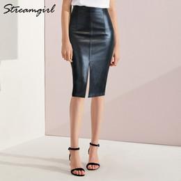 0a21dd4d3c Black Leather Midi Pencil Skirt Australia - Black Women Plus Size Midi Pu Pencil  Skirts Womens