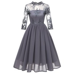 Chinese  Cheap Country Grey Bridesmaid Dresses for Wedding Chiffon A-Line Backless Formal Dresses Party Lace Modest Maid Of Honor Dress manufacturers