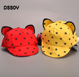 Blue Yellow Red Cartoon Australia - Designer Cotton Baby Caps With Cat Ears Cartoons Meow Printing Children Hat Kids Visor Yellow Red Black Blue Color For Boy Girl Gift Sale