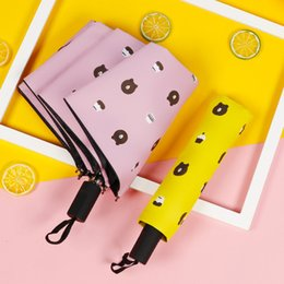 navy umbrellas Australia - Bear Sun Black Plastic Manual Shading Umbrella Yellow Navy Blue Pink Pink White Sunny Umbrella Student