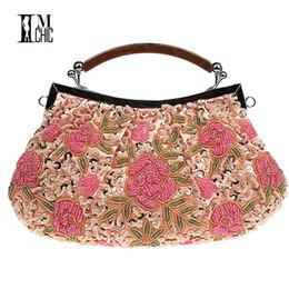 769fdb70d47a Дизайнер- вышивка бисером женская клатч винтажные цветочные блестки вечерняя  вечеринка сумки свадебные сумки ручной работы женская сумка