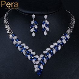 Discount luxurious bridal set - Pera Luxurious Bridal Royal Big Marquise Shape Blue Cubic Zirconia Long Dangle Pendant Necklace and Earring Set for Wome