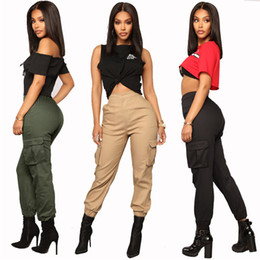 Wholesale women green harem pants resale online – Designer Womens Harem Pants Fashion Multi Pockets Solid Color High Waist Loose Cargo Pants Street Style Women Pants