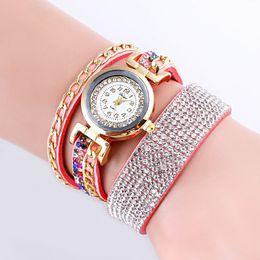 Wrist Watch Glass Chain Australia - Fashionable Golden Chain Lady's Bracelet watch Quartz Watch Fashion Leather Women Casual Wrist HOT SALE