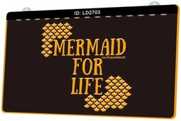 nautical lights 2020 - LD2703 Mermaid For Life Nautical wheeler New 3D Engraving LED Light Sign Customize on Demand Multiple Color