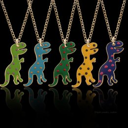 mexican toys NZ - Diy Alloy Cartoon Cute Fun Dinosaur Shape Pendant Five-color Anime Toy Pendant Necklace Children Birthday Jewelry Dropshipping