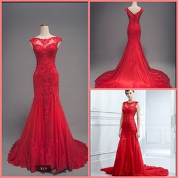 mermaid cap sleeve sequins Australia - Robe De Mariee 2019 red tulle mermaid lace appliques prom dress sheer back sexy cap sleeve real picture prom gowns best selling 2019