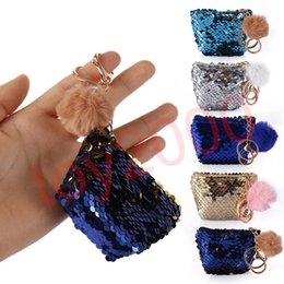 $enCountryForm.capitalKeyWord Australia - Girls Mermaid Glittering Sequin Coin Purse With Cute Plush Ball Money Pouch Women Mini Wallet Coin Bag Zipper Earphone Package