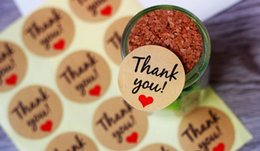 Craft Diy Christmas Gifts Australia - 240PCS Thank You Kraft Gift Tags Stickers Wedding Favors Party Accessories Christmas DIY Biscuit Gifts Decoration