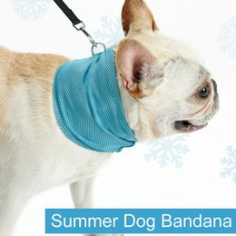 Discount summer dog collars - Instant Ice Cooling Dog Bandana Scarf for Pet small dogs Bulldog Summer Polyester Sunstroke Cooling Neck Wrap dog collar