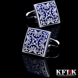 $enCountryForm.capitalKeyWord Australia - Kflk Jewelry Shirt Fashion Cufflink For Men Brand Cuff Link Wholesale Button Blue High Quality Luxury Wedding Male Free Shipping T190701