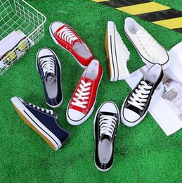 $enCountryForm.capitalKeyWord Australia - 2019 classic women's canvas shoes street pat cloth shoes lace-up Low help casual shoes black red white blue color