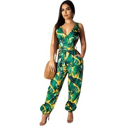Casual Floral Women Jumpsuits UK - V Neck Sexy Bodysuits Women With Belt Body Femme Rompers Feminino Floral Playsuit Overalls Print Spring Summer Jumpsuit N19.6-1903