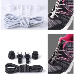 runners shoe laces Canada - 1 pair No Tie Shoe Laces Elastic Lock Lace System Lock Sports Shoelaces Runners Trainer Fit Strap For Boys And Girls Wholesale