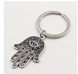 $enCountryForm.capitalKeyWord Australia - 20pcs lot Key Ring Keychain Jewelry Silver Plated Hamsa Fatima Hand Charms Pendant key Accessories new