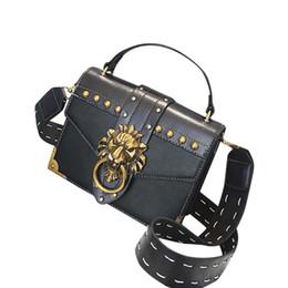 Lion mini online shopping - Woman Fashion Metal Lion Head Shoulder Bag Mini Square Crossbody Bag new PU high quality anti theft womens for travel Mar