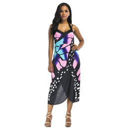 3ce4280b3a Print Wrap Slip Beach Dress 2019 Summer Beach Wear Women Tunics Sarongs  Boho Cover Dress Up Robe Butterfly Big Size