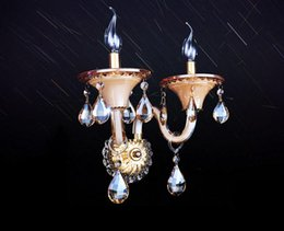 antique bedroom wall lamps Canada - Led Continental Antique Crystal Wall Bedside Lamp Reading Lamp Led Wall Lamp Bedroom Living Room Home Lighting