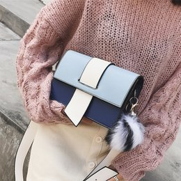 Color Leather Bags Australia - Panelled Women Single Shoulder Bags Color Hairball Women Messenger Bag 2019 Fashion Pu Leather Girls Flag Bags For Females New