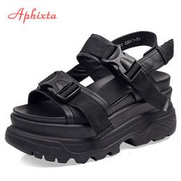 $enCountryForm.capitalKeyWord Australia - Aphixta 8cm Platform Sandals Wedge High Heels Shoes Women Buckle Leather Canvas Summer Zapatos Mujer Slippers Woman Sandal Y190704