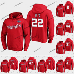 sudaderas de campeones al por mayor-Juan Soto Nationals WS Champions Washington Hoodie Jersey Washington Stephen Strasburg Max Scherzer Anthony Rendon Howie Kendrick