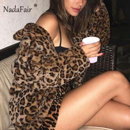 Hair Fur Australia - Nadafair Shaggy Winter Faux Fur Coat Female Streetwear Rabbit Hair Leopard Coat Sexy Zipper Autumn Plush Fluffy Jacket Women