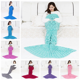 Bags Fish Scale Australia - New Creative Mermaid Tail Blanket Fashion Pure Color Fish scales Knitting Blankets Soft Comfortable Sleeping Bag Trendy Photography