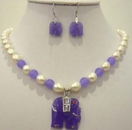 $enCountryForm.capitalKeyWord Australia - White pearl purple Natural jade elephant pendant necklace earring set