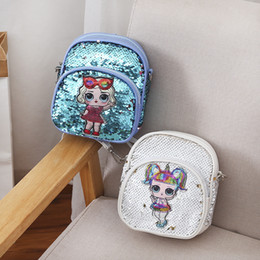 pink cotton canvas backpack 2019 - Ins Surprise Girls Mini Backpack Kids PU Seqiuns Shouder Bag Cartoon Princess Cross Body Satchel Baby Portable Handbags