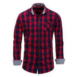 Mens Red Blue Plaid Shirt UK - Mens Tops Cardigan Mens Shirts Long Sleeve Shirt Casual Tees Cheaper Plaid Plus Size Wholetide Clothing