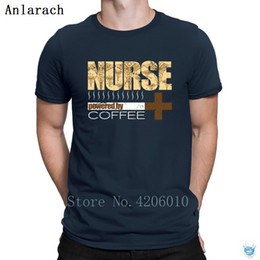 Nurse T Shirt Powered By Coffee Funny Nurse Shirt T-Shirts Famous Summer Slim Fit Popular Men's Tshirt Plus Size 3xl Tee Top