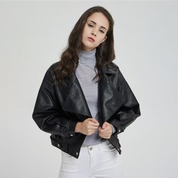leather jackets rivets 2019 - Black Single Breasted Short Leather Coat Puff Sleeve Belted Pocket Rivet Faux Jacket 2019 Autumn Women Loose Vintage Out