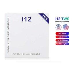 Venta al por mayor de Auriculares inalámbricos i12 TWS Touch Auriculares Bluetooth dobles V5.0 auriculares estéreo estéreo Auriculares inalámbricos con control táctil SIRI