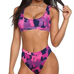 camouflage swimwear UK - g7yJG 2019 women's sexy gathering camouflage pink split swimsuit swimwear 2019 women's sexy gathering camouflage pink split bikini swimsuit
