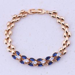 $enCountryForm.capitalKeyWord NZ - Super Blue Imitation Crystal Cubic Zircon Yellow Gold Color Cheap Charm Bracelets For Women Fashion Free Gift Box I0317