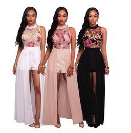 White Chiffon Fabric Canada - Fashion Women Sleeveless Lace Embroidery Fabric Dress Chiffon Sexy Black Pink White Dress Cheap Price Factory Sale Sheer Jumpsuit Dresses