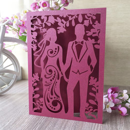 Wedding Groom Figures Australia - 50PCS Cute Bride And Groom With Wedding Invitations Engagement Dinner Party Invitations Marriage Ceremony Decoration With Lace Supplies