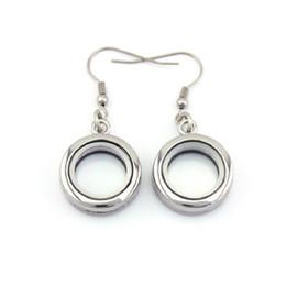 Floated glass online shopping - 20mm Alloy Floating Locket Earrings Silver Plain Glass Living Floating Locket Earrings PAIRS