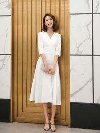 Short Simple Modest White Dresses Australia - Vintage Tea Length Short A-line Modest Wedding Dresses With 3 4 Sleeves V Neck Simple Informal Reception Gowns For brides Custom Made