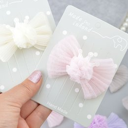 Discount hair clip holders wholesale - Hot Multicolor Hair Bow Girls Headwear Hair Clip Bling Crown Bowknot Barrette Ponytail Holder For Women A309