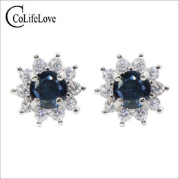 natural sapphire earrings Australia - CoLife Jewelry 100% natural sapphire stud earrings for lady wear 5mm green-blue sapphire earrings 925 silver sapphire jewelry gift for woman
