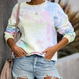 wholesale tie dye shirts Australia - Women Gradient Color Long Sleeve Casual Crew Neck Pullover Tops Tee Loose Sweatshirt Tie Dye Plus Size Autumn Sweater T-shirts