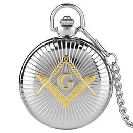 Masonic gifts for Men online shopping - Golden quot G quot Masonic Display Luxury Antique Pocket Watch Quartz Movement Retro Silver Souvenir Pendant Clock Gifts for Men Women