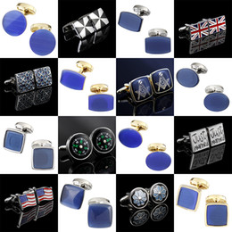 Blue Shirt For Wedding Australia - Memolissa Luxury Opal Cufflinks Noble Blue Mens Cufflinks Wedding Exquisite Gifts for Men Business Shirts Cufflink